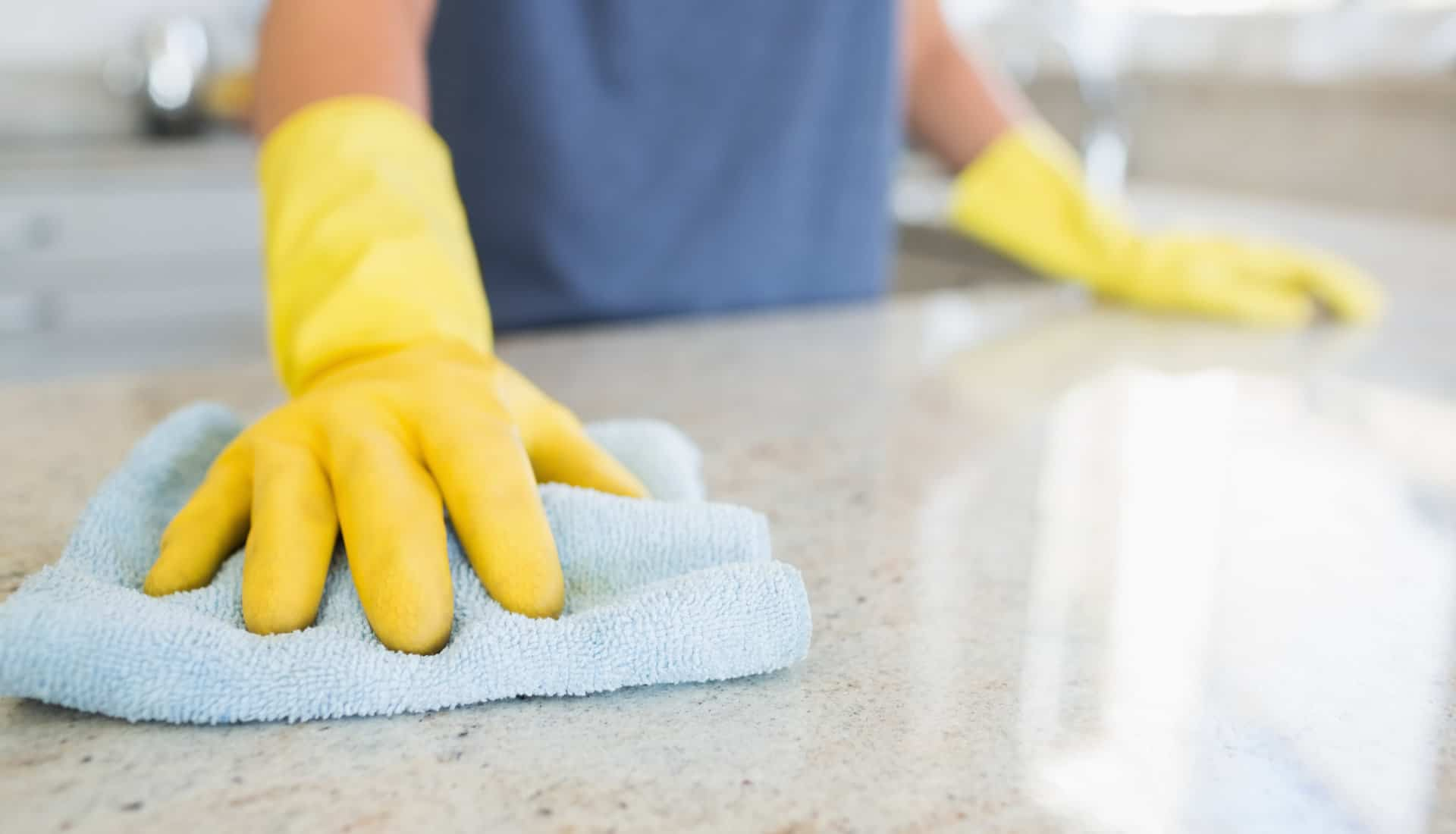 Wiping Kitchen Counter